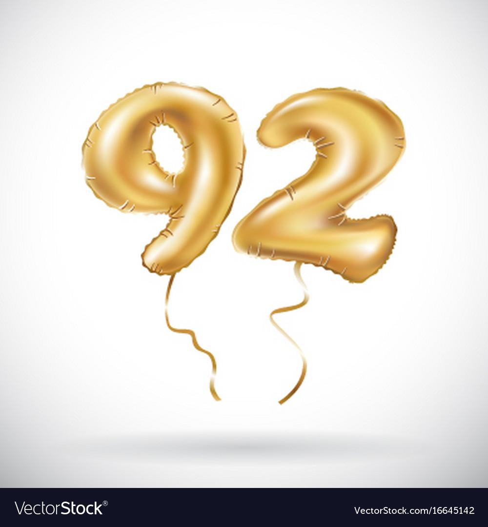 Golden number 92 ninety two metallic balloon