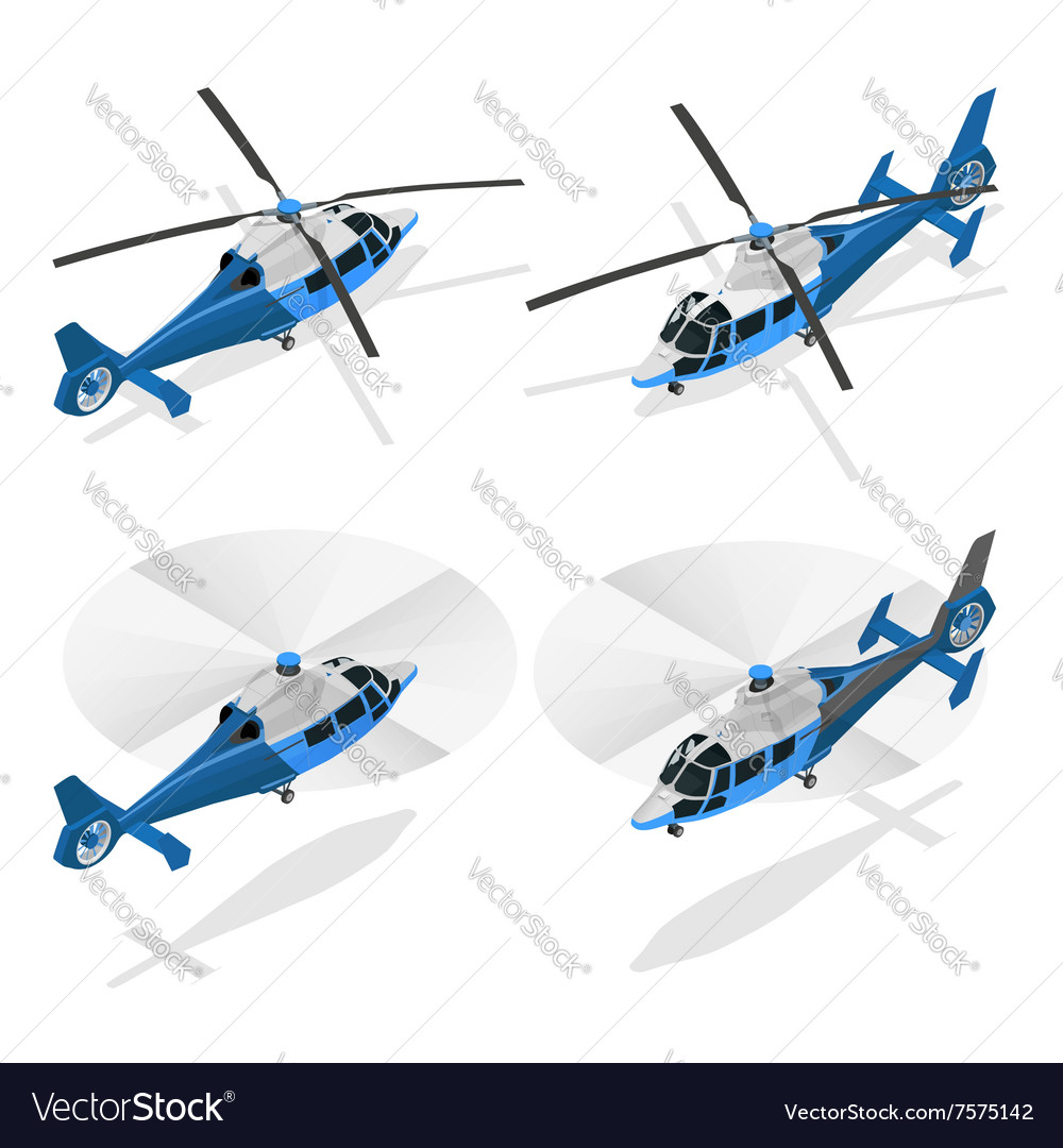 Helicopters isolated on white - flat 3d