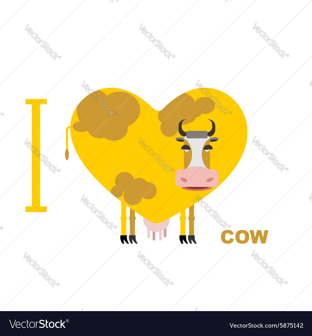 I love cow Symbol heart of cows for lovers