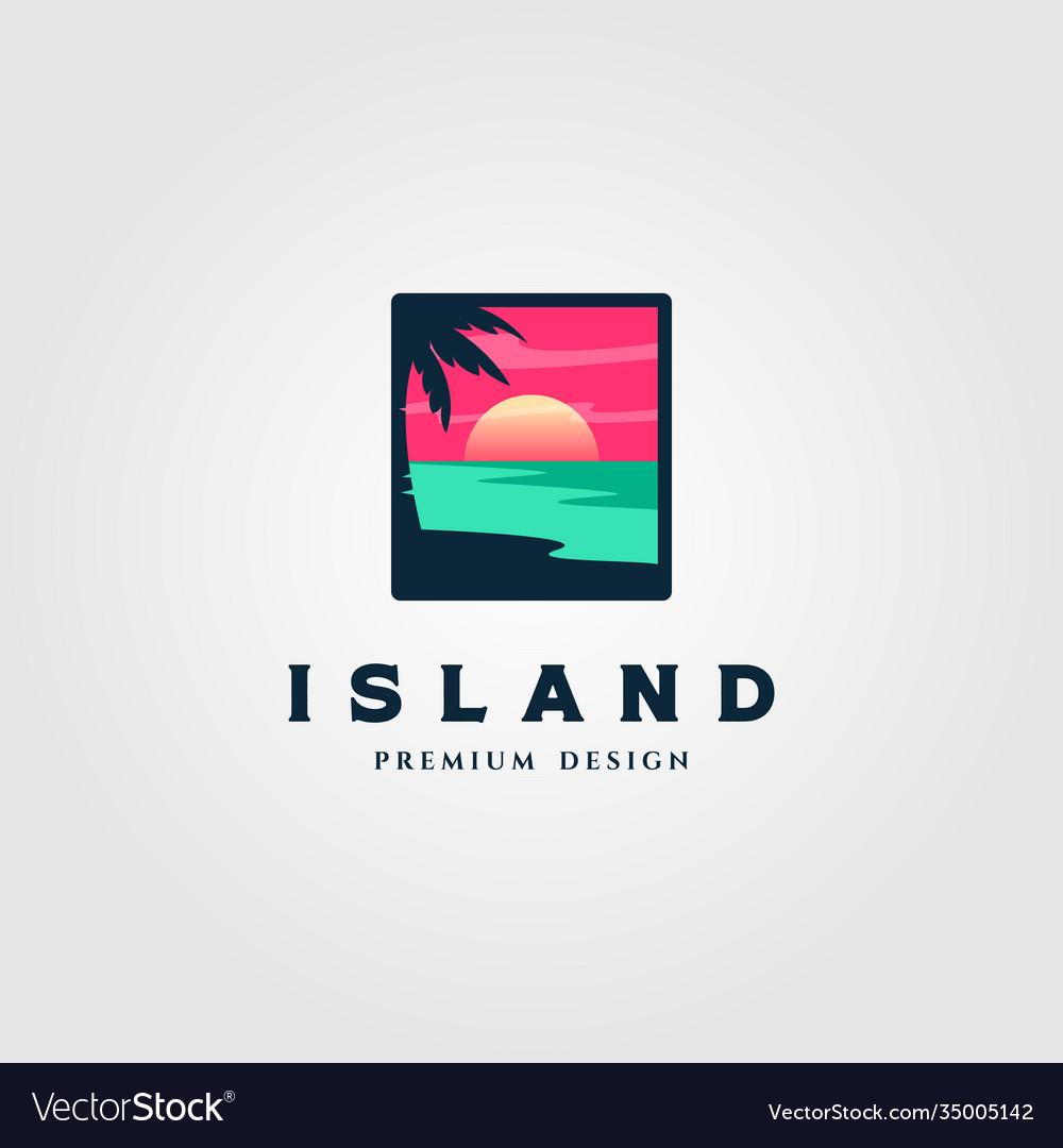 Island landscape logo design