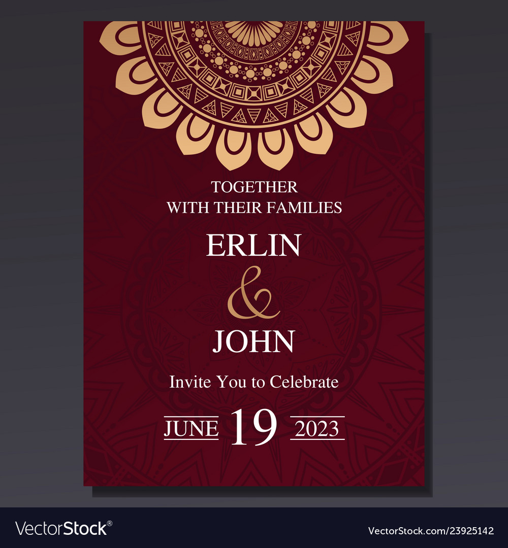 Luxury And Elegant Wedding Invitation Card With