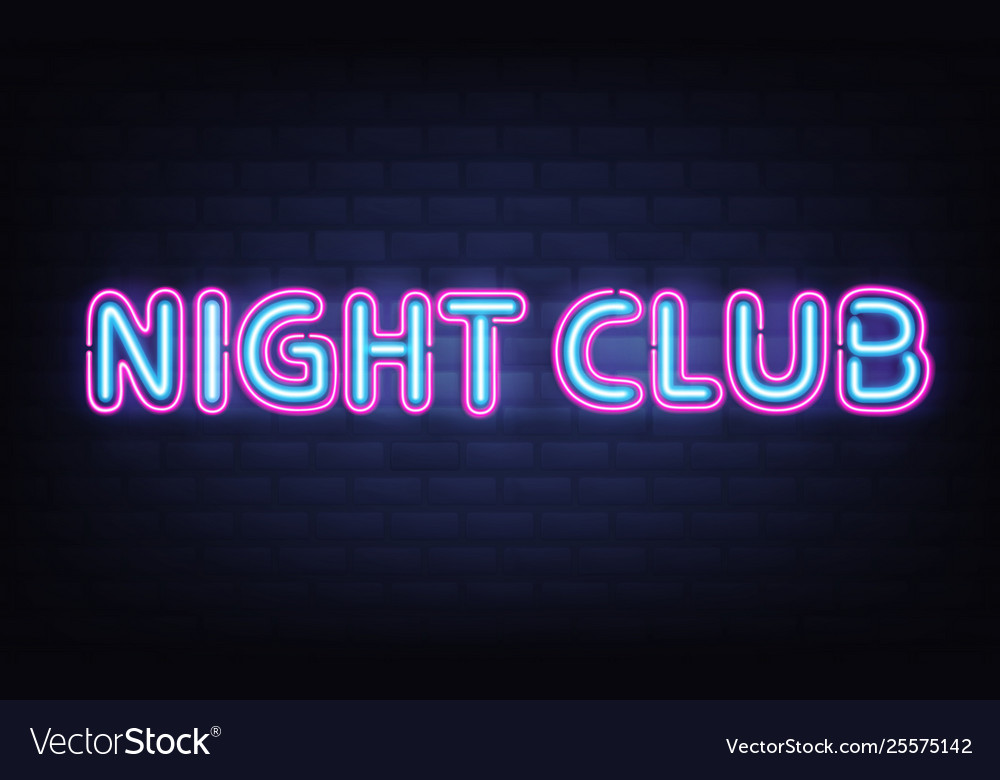 Night Club Neon Lettering On Brick Wall Background