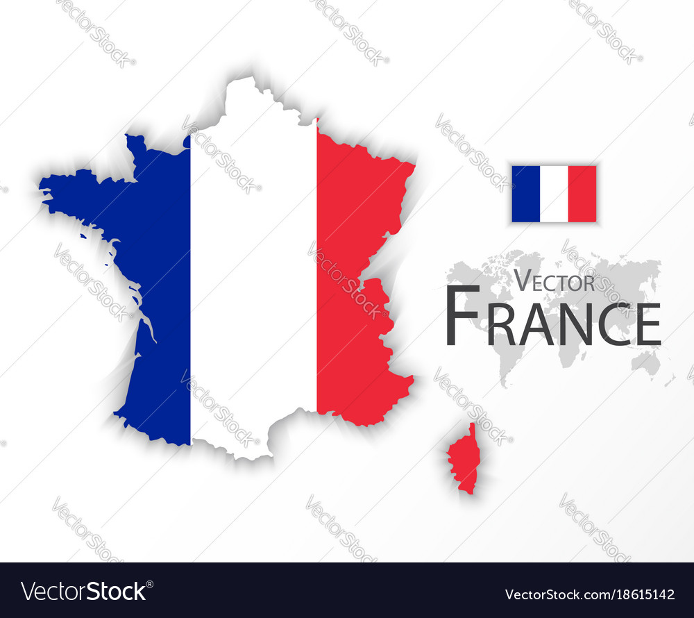 Republic of france flag and map