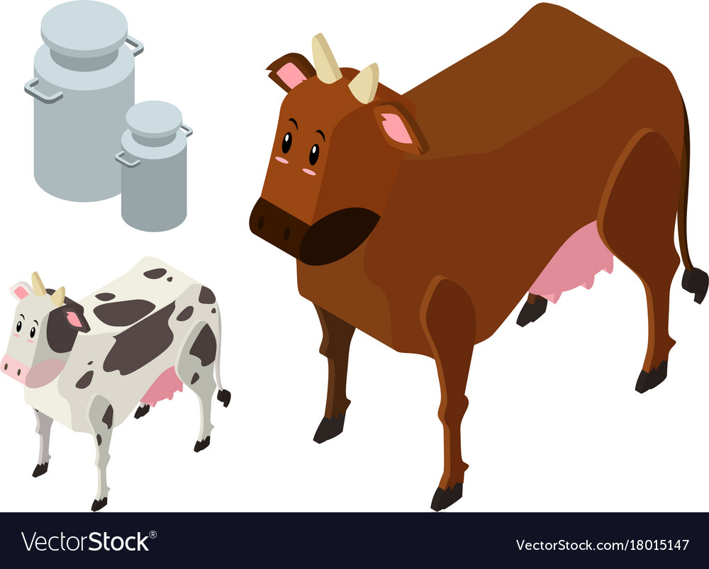 3d design for two cows and milk tanks