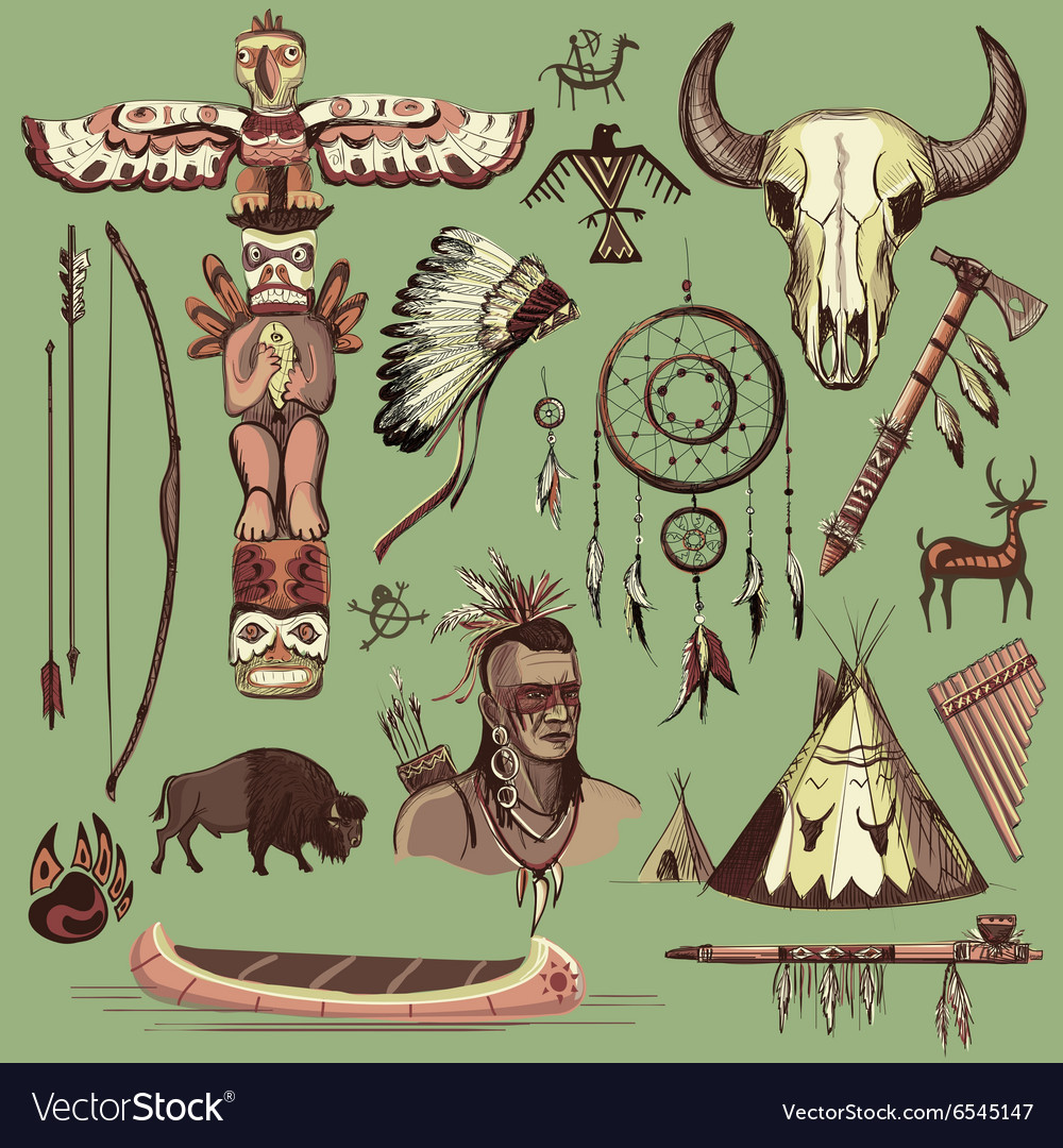 Collection of hand drawn wild west american indian