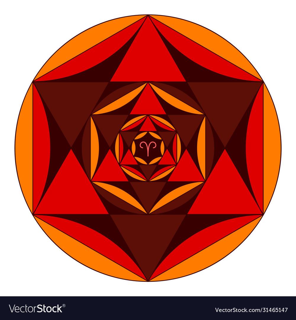 Colored Coloring Book Sacred Geometry Mandala Vector Image
