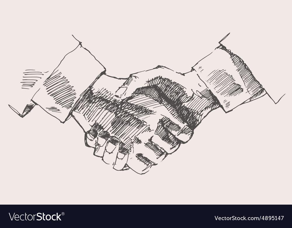 Drawing Shake Hands Partnership Sketch