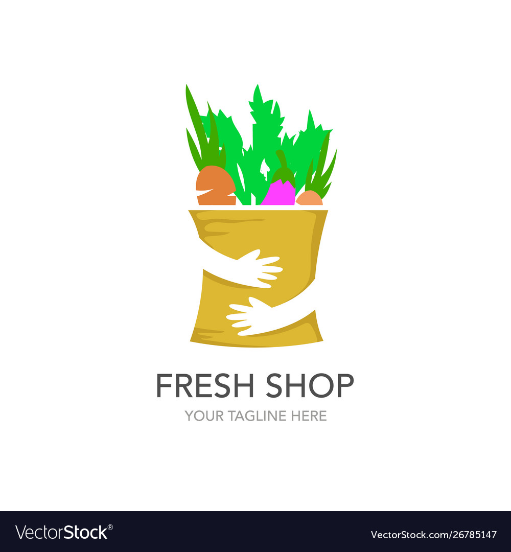Fresh shop shopping logo design template hands