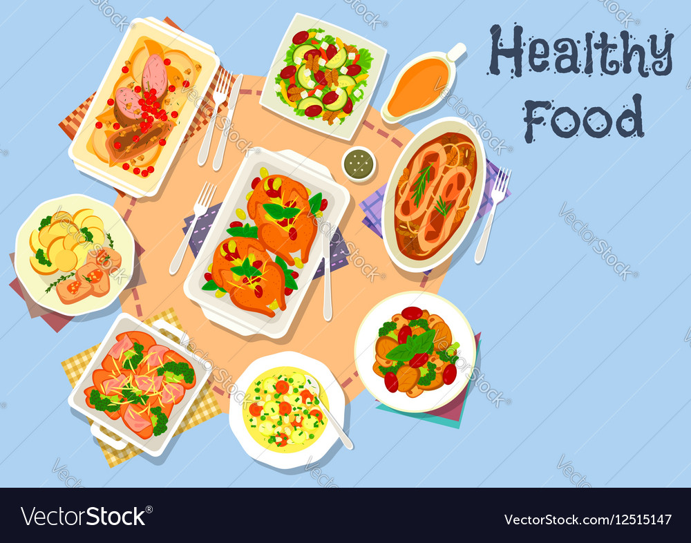 Meat and vegetable dishes for dinner icon vector image