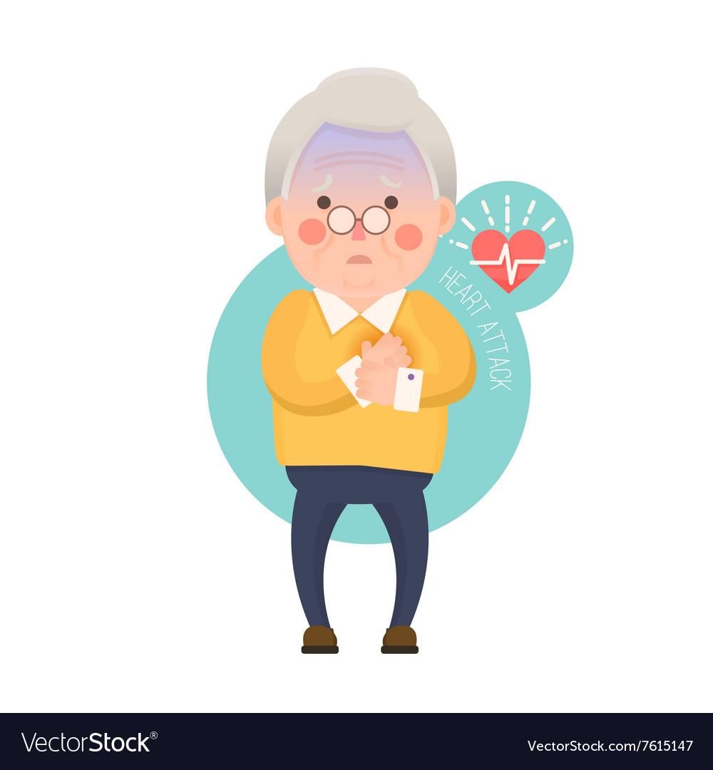 Old Man Heart Attack Cartoon Character