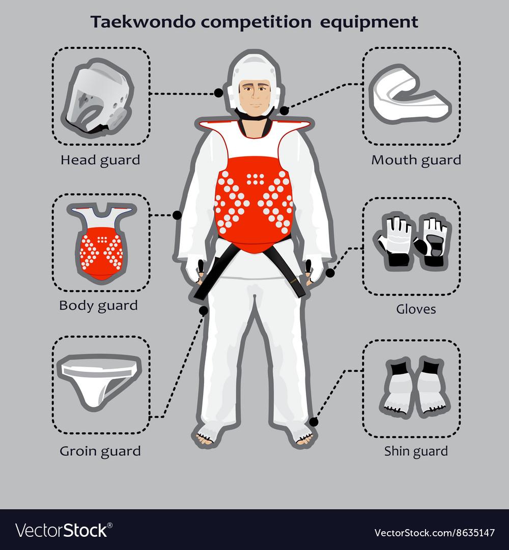 Taekwondo Korean martial art competition equipment vector image