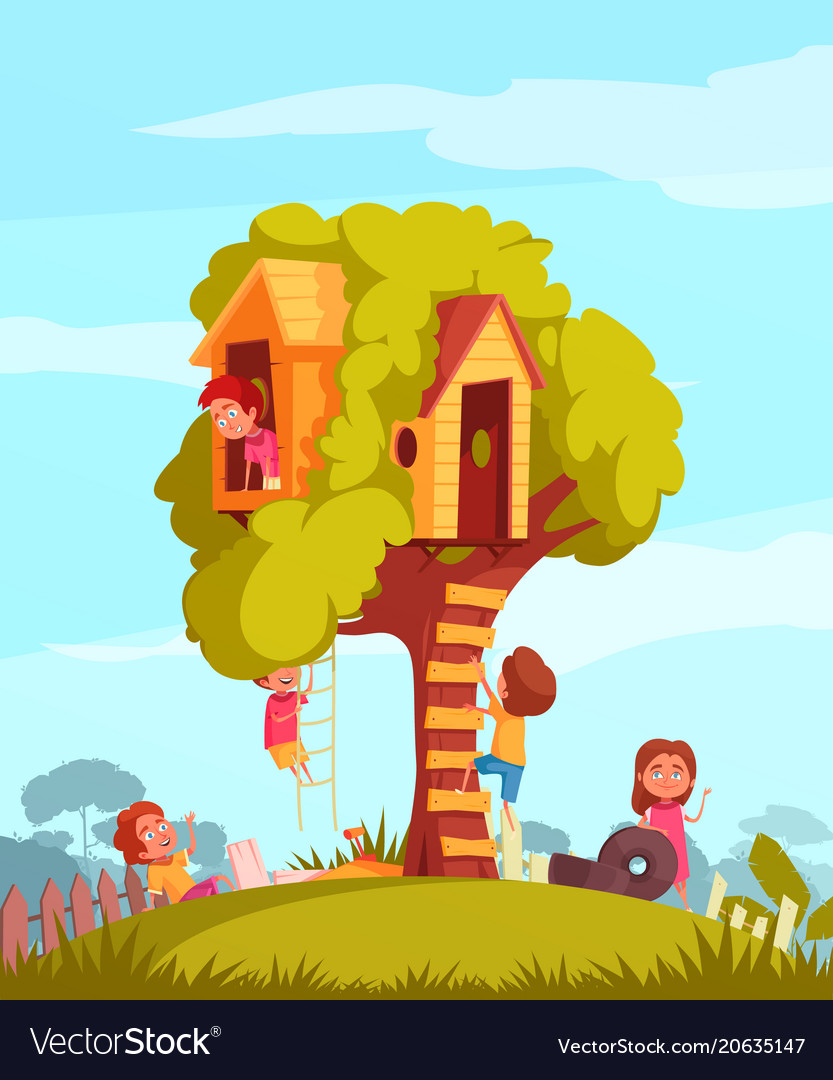 Tree House With Children Background Royalty Free Vector Free for commercial use no attribution required high quality images. vectorstock