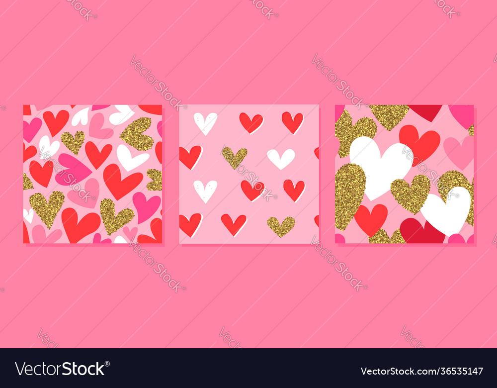 Valentine day pink gold glitter heart pattern set