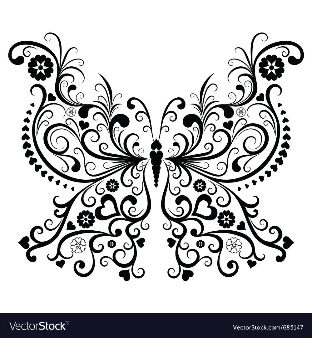 Vintage butterfly vector image
