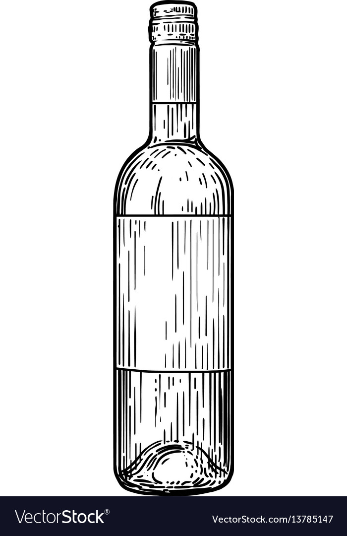 Wine bottle drawing engraving ink Royalty Free Vector Image