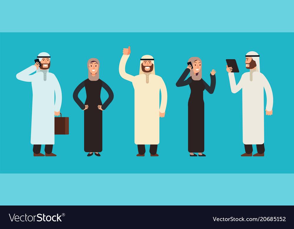 Arabic businesswomen and businessmen group arab vector image