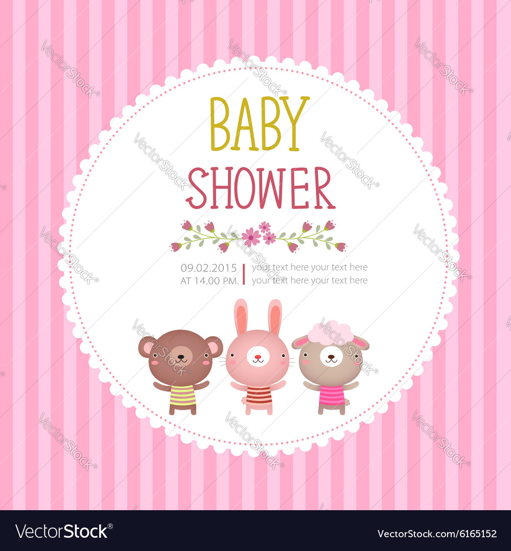 Baby Shower Invitation Card Template On Pink