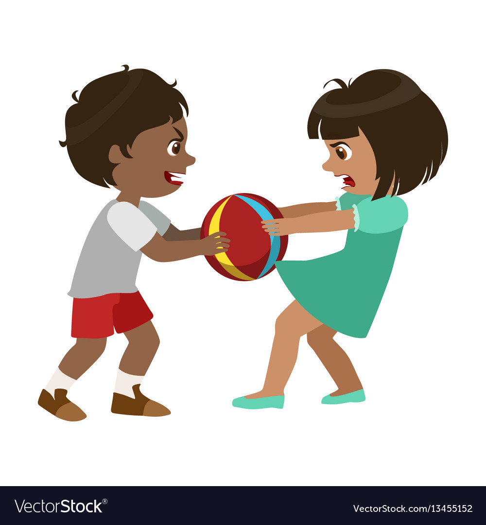 Boy taking away a ball from a girl part of bad