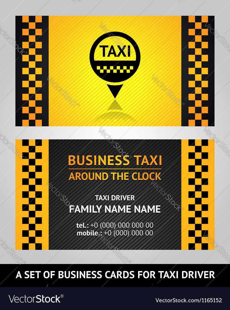 business cards taxi driver vector image - Taxi Business Cards