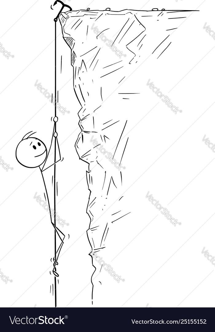 Cartoon man or businessman or mountain climber