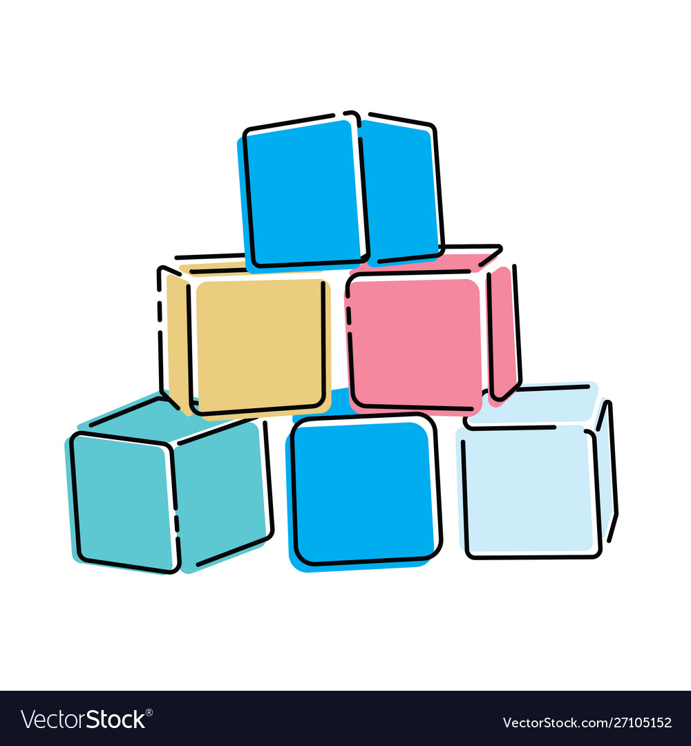 Cartoon pyramid colored cubes toy cubes