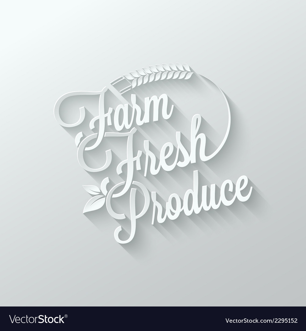 Farm fresh cut paper lettering background vector image
