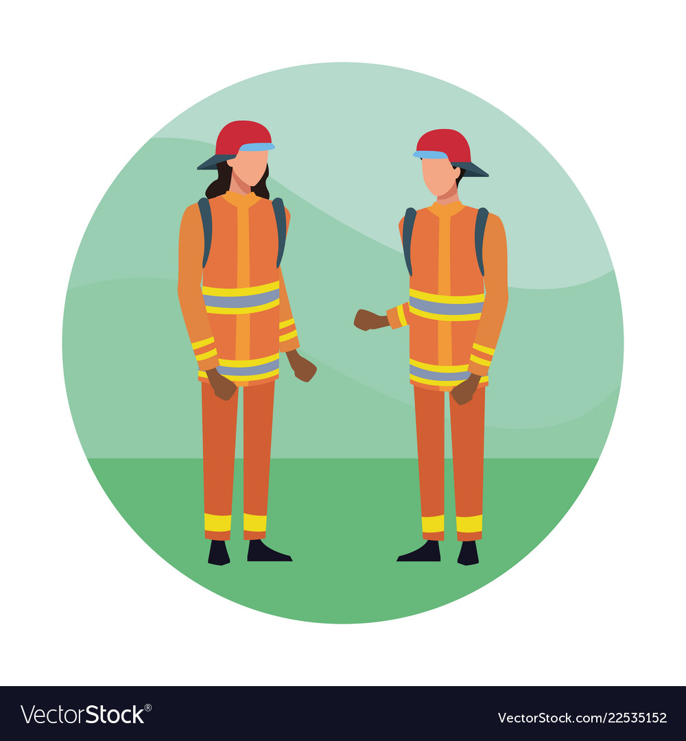 Firefighters team cartoon vector image