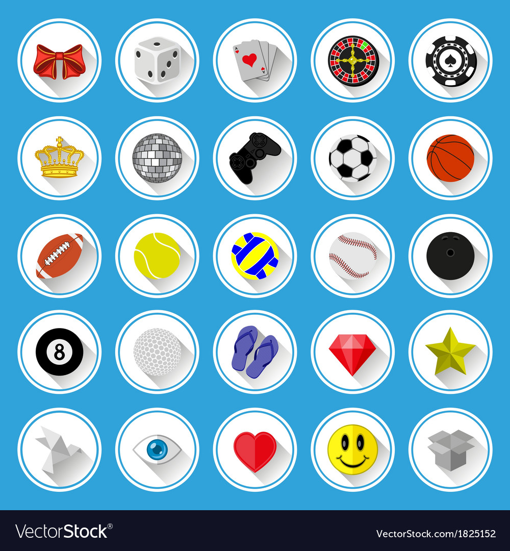 Flat icons and pictograms set vector image