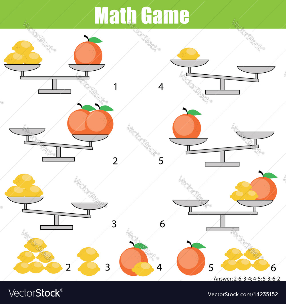 Mathematics educational game for children balance