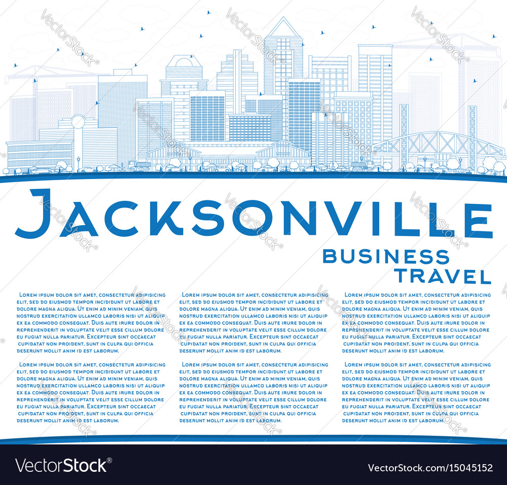 Outline jacksonville skyline with blue buildings