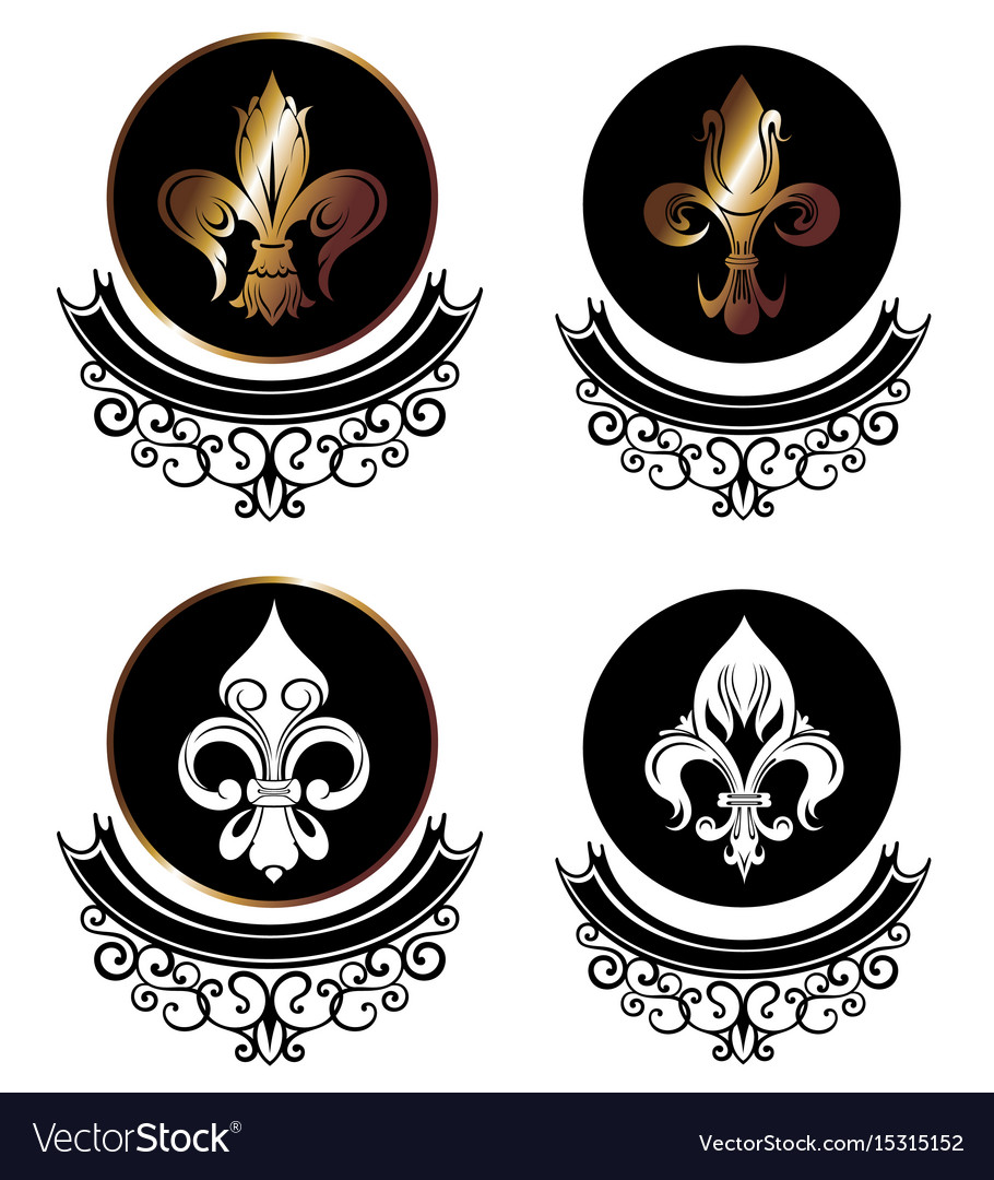 Royal lily icons collection on white