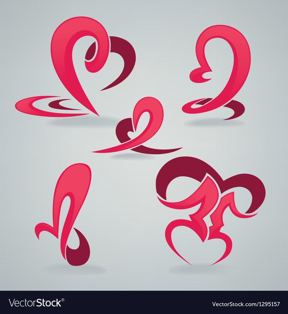 Hearts and kiss vector image