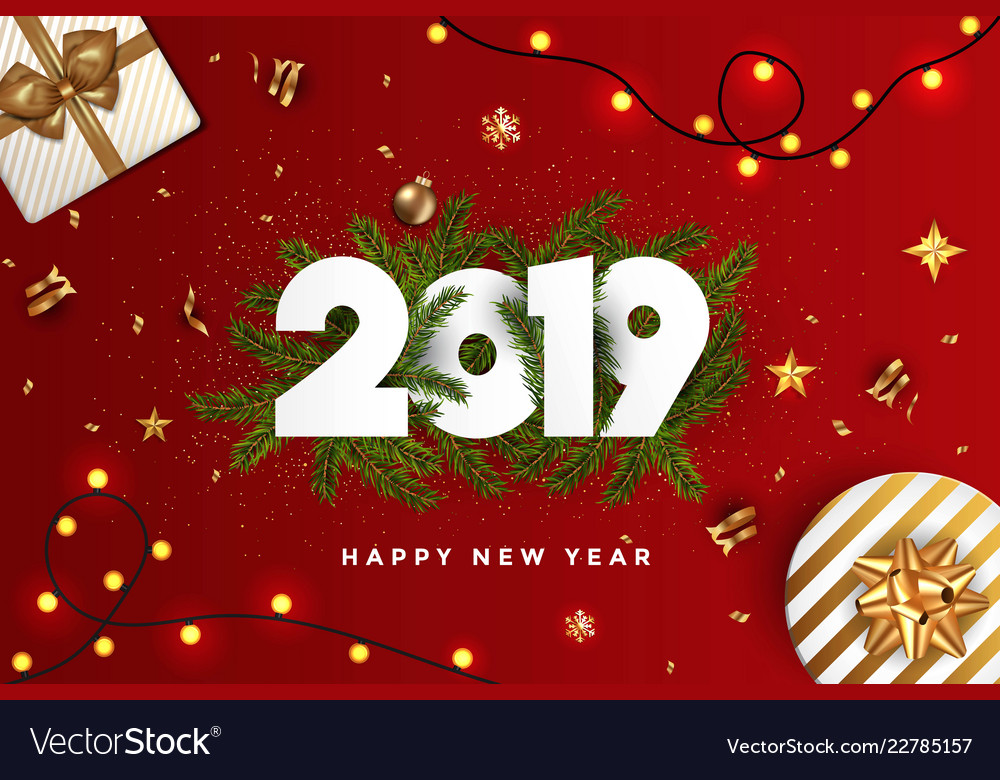 holiday new year card 2019 fir branches on red vector image