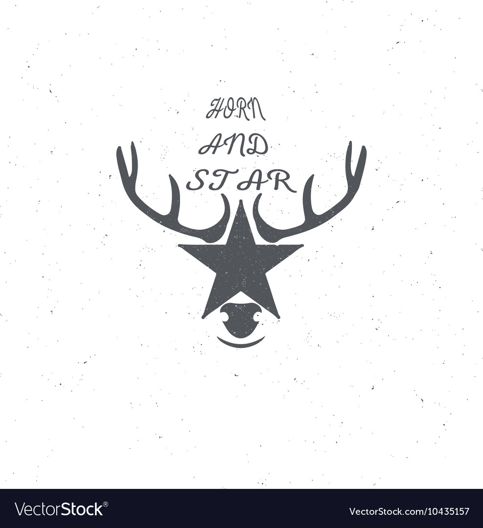Horn and a star or deer s head poster badge with