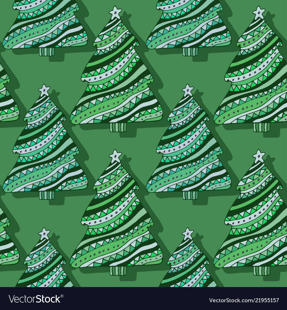 New year trees seamless pattern green christmas