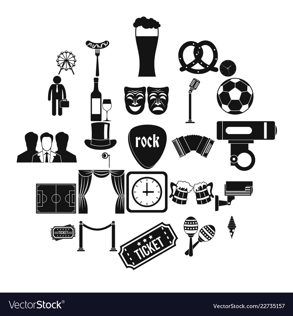 Occasion Icons Set Simple Style Royalty Free Vector Image
