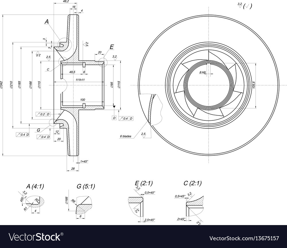 Sketch of wheel with lines and blades