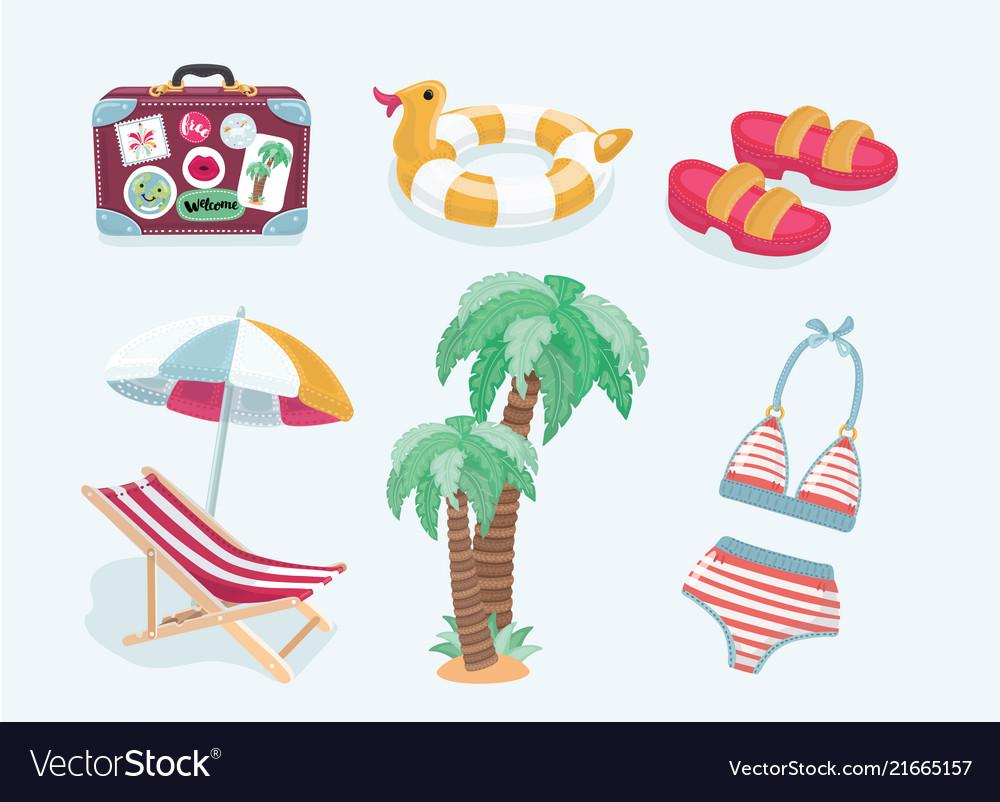 Summer beach set of icons