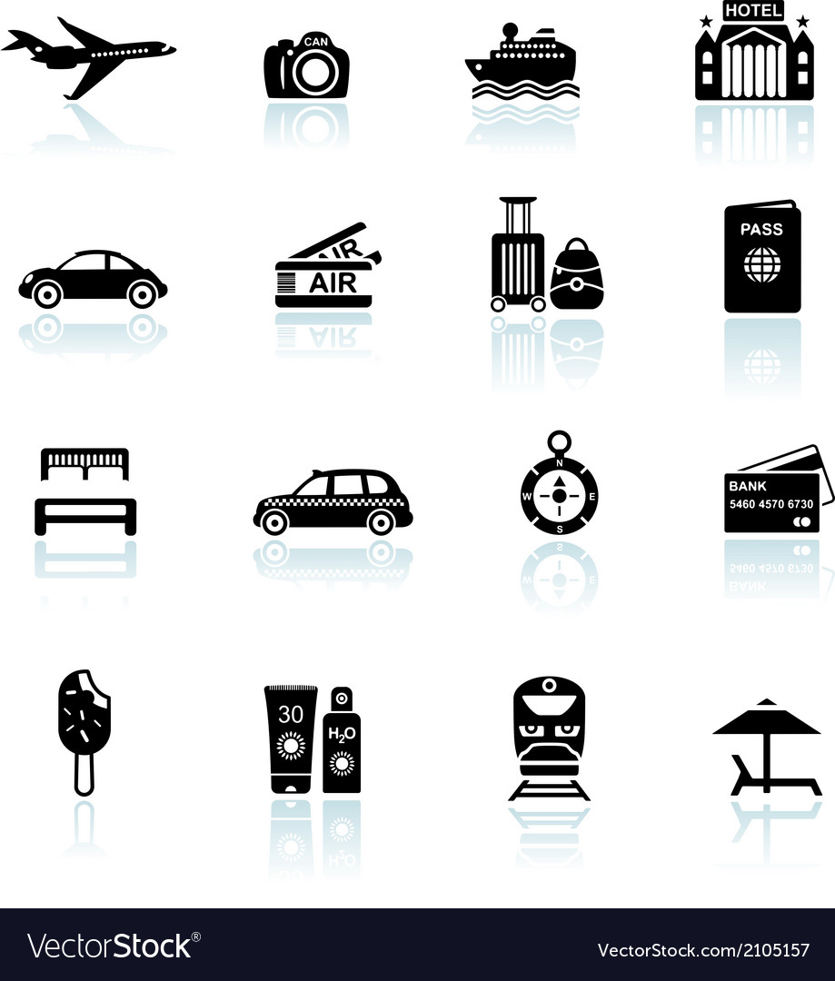 Travel icons black on white