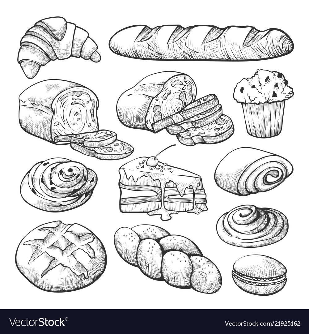 Bakery product sketch bread and cakes set