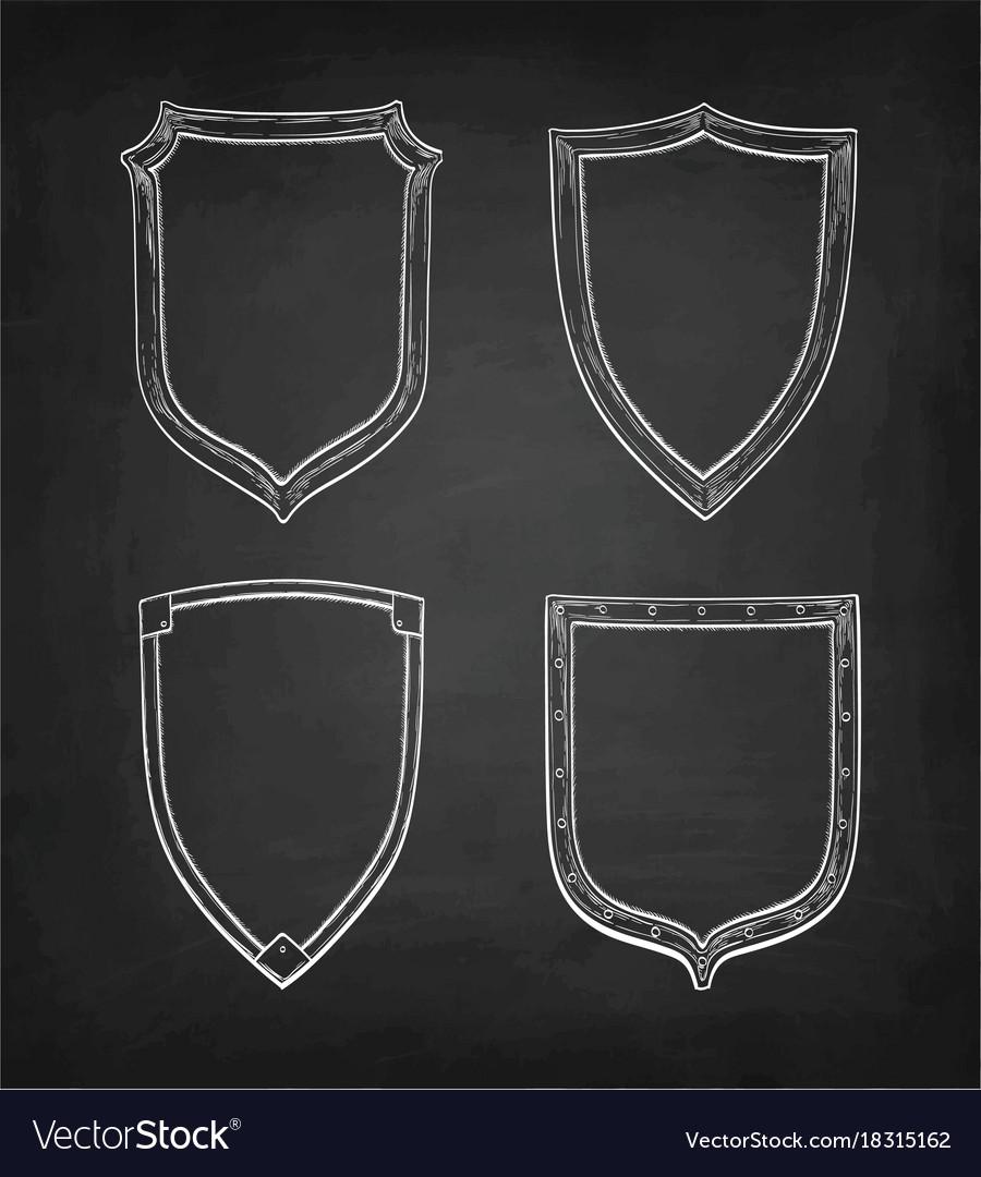 Chalk sketch of vintage shields