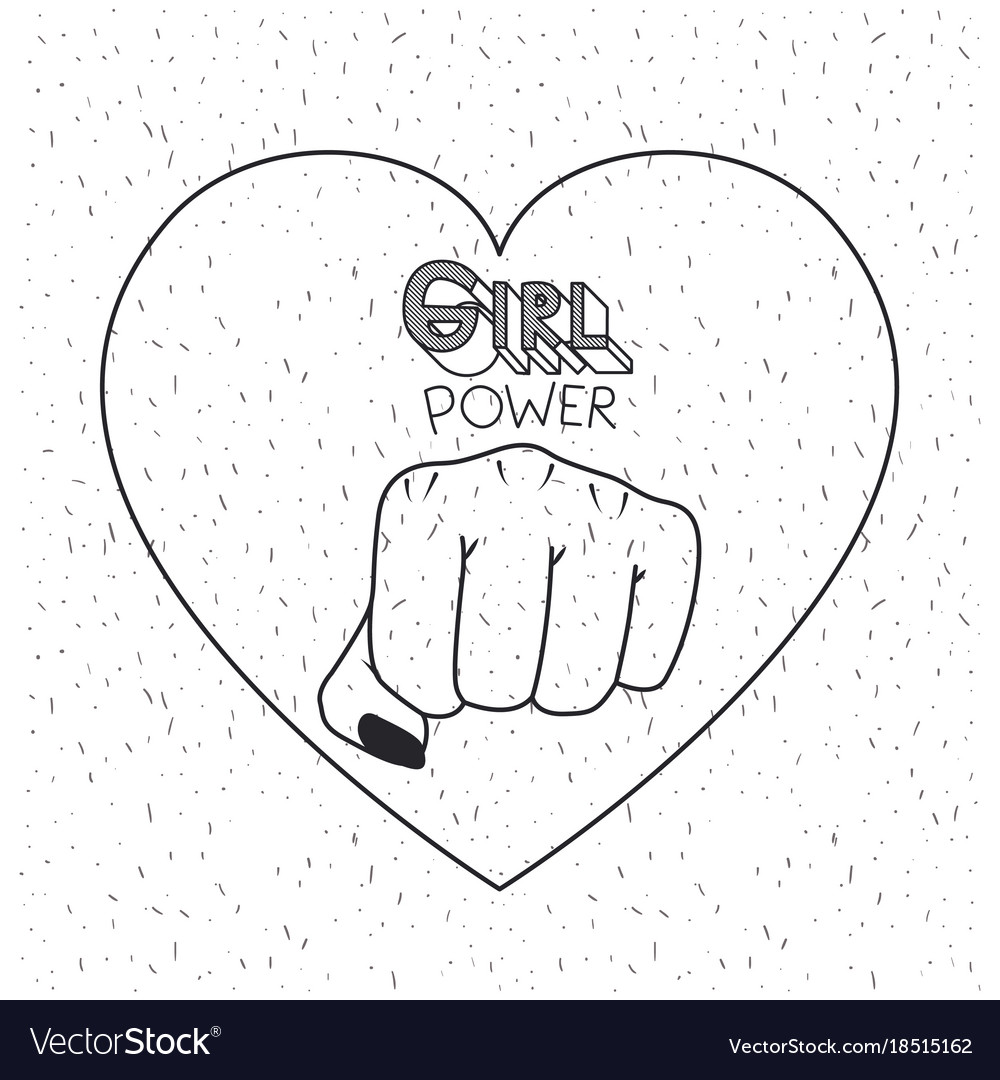 Girl Power Poster Text And Fist Symbol In Heart Vector Image