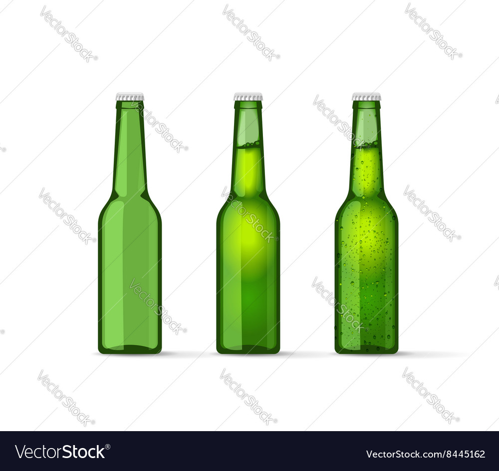 Green beer bottles set with bubbles full and