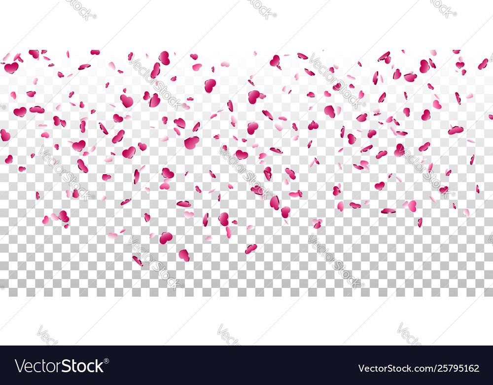 Heart falling confetti isolated white transparent