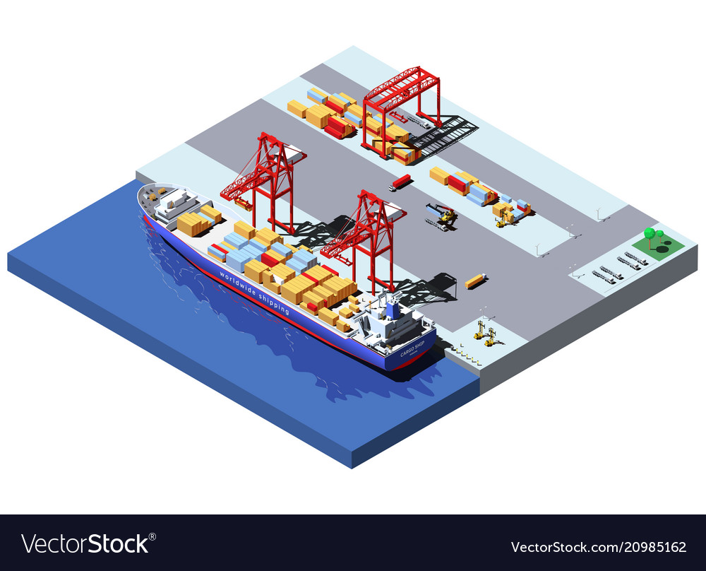 Isometric cargo port with two cranes