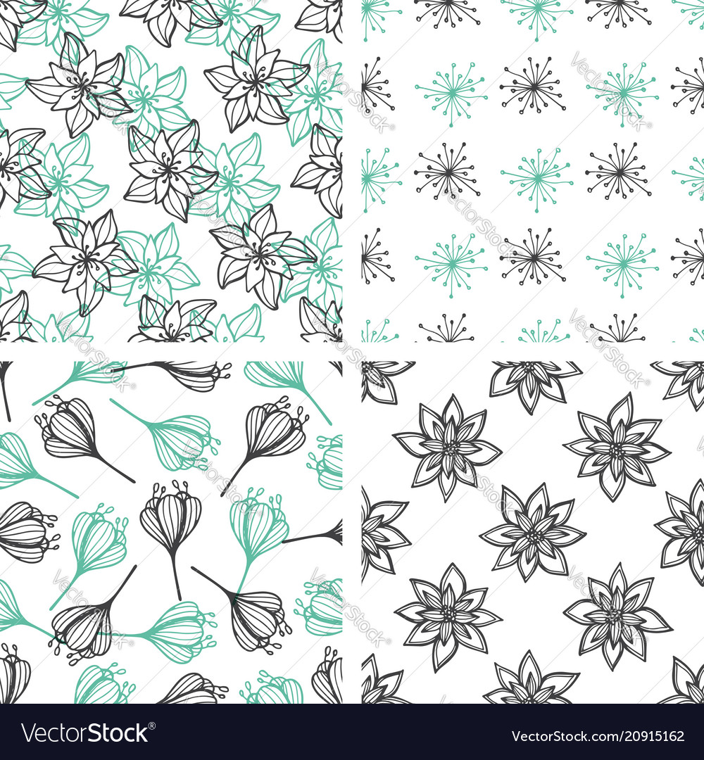 Patterns with green and black flowers vector image