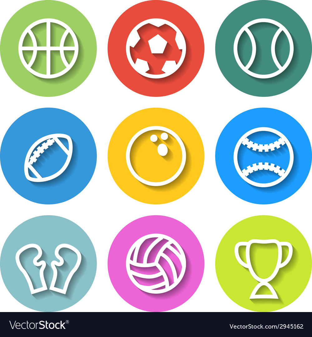 Set flat sports icons vector