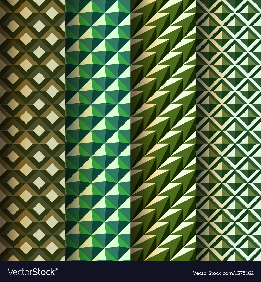 Set seamless geometrical patterns retro style vector image