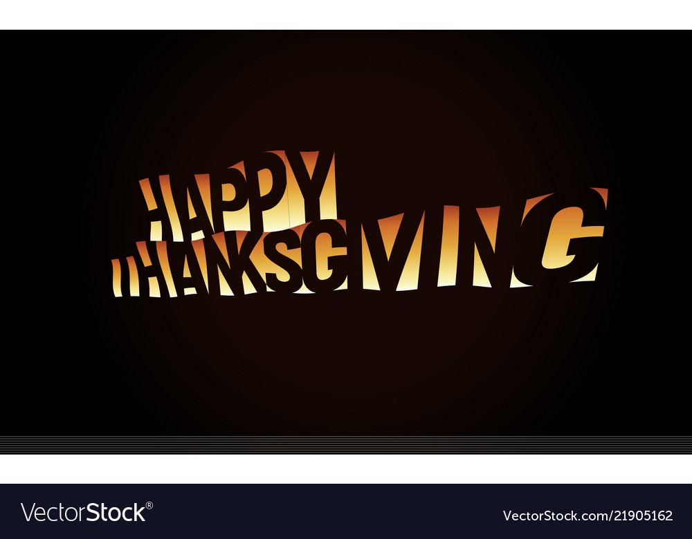 Thanksgiving day text banner orange text on black