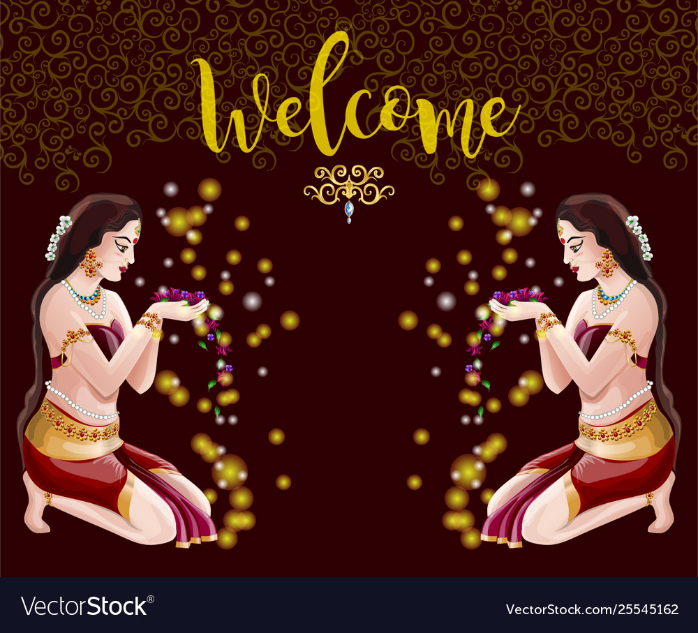 Welcome abstract background with two indian girls